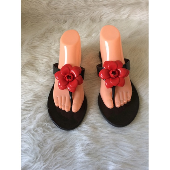 Unbranded Shoes - Jelly Flat Slip On Floral Accent Women Sandals M